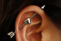 Cool Ear Piercing Ideas - Heart Arrow Industrial Earring Barbell - www.MyBodiArt.com