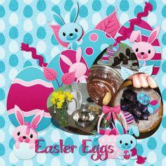 Easter Egg Digital Scrapbook Page by Kaytea (Katie Spooner)  Uses kit Egg Hunt by Lisa Rosa