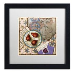 "Trademark Art 'Red Pears and Music' by Rachel Paxton Framed Painting Print Matte Color: Black, Size: 16"" H x 16"" W x 0.5"" D"