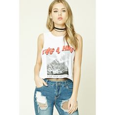 Forever21 Take A Hike Graphic Muscle Tee ($11) ❤ liked on Polyvore featuring tops, white graphic tank top, muscle tshirt, forever 21, boxy tops and cotton tank tops