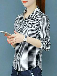 Turn Down Collar Decorative Buttons Checkered Blouses Dress Shirts For Women, Blouses For Women, Blouse Styles, Blouse Designs, Designs For Dresses, Blouse Online, Fashion Sewing, Stylish Dresses, Shirt Blouses