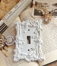 vintage metal wall decor light switch cover in white shabby chic single switch