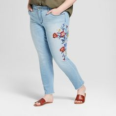 Women's Plus Size Embroidered Skinny Jeans - Universal Thread™ Light Wash at Target. Affiliate link.