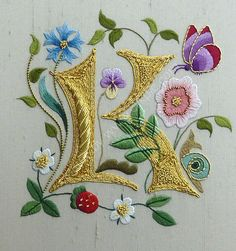 Illuminated Embroidery - Letter K