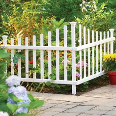 Improvements No-Dig Vinyl 2-Piece Corner Picket Fence ($50) ❤ liked on Polyvore featuring home, outdoors, outdoor decor, accent fence, fence panels, front yard fencing, garden fence, mailbox fence, picket fence and picket fence panels
