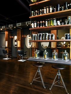 Blackened cast concrete table, floating shelves, reception desk top and display surfaces for well known hair salon in Manhattan.  The edges ...