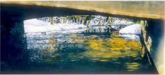bridge in winter eramosa river 6 16`x 40` micheal zarowsky watercolour on arches paper - private collection
