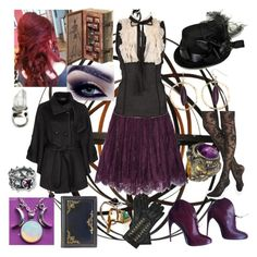 """""""Professor Ariadne Caldwell - Salem Witch Institute"""" by xkaptain ❤ liked on Polyvore featuring Noir, Alice + Olivia, Gucci, Express, Pamela Love, Burberry, Mudd, Queensbee, Seawolf and Folio"""
