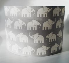 Elephant grey nursery lampshade in ceiling by TheFunkyNurseryshop