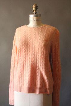 Vintage 90's Pastel Peach Cashmere Cable Knit by MrMisterVintage