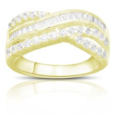Dolce Giavonna Gold Over Silver Or Sterling Silver Cubic Zirconia Twist Design Ring