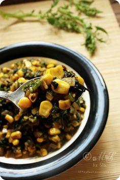 Monsoon Spice   Unveil the Magic of Spices...: Spicy Palak aur Makai ki Subji (Spicy Spinach & Sweet Corn Stir-Fry)