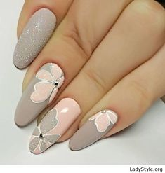 Grey and nude floral gel nails - LadyStyle