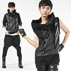 DEEPSTYLE  Faux leather high neck vest