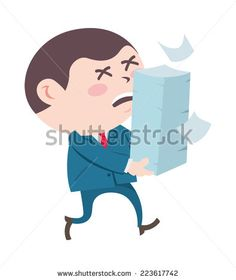 office worker carrying stack of paper - stock vector #design #graphic #vector #illustration #clipart #cartoon #boss #business
