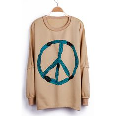 Apricot Peace Sign Print Drop Shoulder Pullover Sweatshirt ($29) ❤ liked on Polyvore