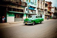 Car Driving in Old Havana Cuba - Classic Car Art - Vintage Architecture - Cuba Home Decor - Colorful Office Art - 16X24 Print