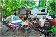 The main lakeside campground at Devils Fork State Park features 59 paved sites with water and electrical hook-ups - Camping in South Carolina