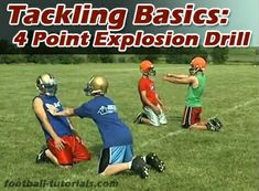 Tackling Basics: The 4 Point Explosion Drill – Football Tutorials – American Football Football Drills For Kids, Football Coaching Drills, Tackle Football, Football Workouts, Soccer Skills, Football Stuff, Football 101, Football Conditioning Drills, Football Parties