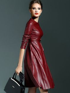 Shop Win Red Round Neck Long Sleeve Tie-Waist Leather Dress at ROMWE, discover more fashion styles online. Red Leather Dress, Leather Dresses, Leather And Lace, Sexy Outfits, Leather Leggings, Leather Fashion, Dress To Impress, Latex, Dress Skirt