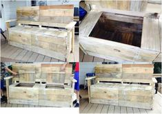 Bench Made From 5 Pallets #PalletBench, #PalletStorage, #ReclaimedPallet