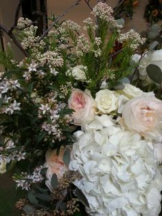 David Austin Garden Roses, Rice flower, Spray Roses & Hydrangea