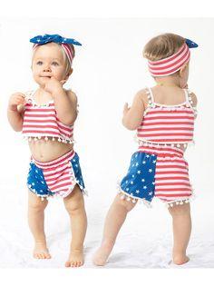 Retired Army USA Flag Printed Baby Boy Girl Sleeveless Romper Jumpsuit Bodysuit