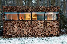 Mini dwelling. A pre fab house (mainly steel and plastic) with a wood veneer applied