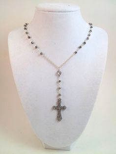 Gunmetal Crystal Silver Rosary Necklace  by divinitycollection, $60.00