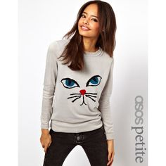 ASOS PETITE Exclusive Sweater With Cat Face (220 CNY) found on cat sweaters20130704