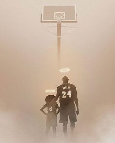 Artists around the world immortalize Kobe and Gianna Bryant - R. Kobe and Gianna Kobe and Gianna Bryant seen with halos above their heads as they stare up to - Dear Basketball, Basketball Players, Basketball Videos, Basketball Funny, Nba Players, Michael Jordan, Kobe Bryant Family, Kobe Bryant Pictures, Fans