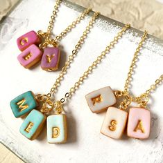 Tiny Letters Necklace for Mom Petite Necklace Small Letter charms on High quality Gold plated necklace Mother Gift Christmas for mom Mother Christmas Gifts, Mother Gifts, Christmas Clay, Letter Necklace, Diy Necklace, Collar Necklace, Necklace Designs, Polymer Clay Charms, Polymer Clay Earrings