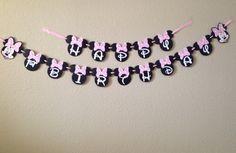 Banner de cumpleaños de Minnie Mouse Minnie por CuddleBuggParties