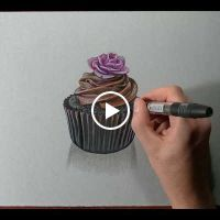 How I draw a cupcake by MARCELLO BARENGHI Tole Painting, Fabric Painting, Painting & Drawing, Cupcake Drawing, Cupcake Art, Illustration Art, Illustrations, 3d Drawings, Coloured Pencils