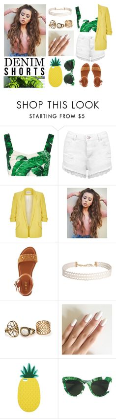 """355-> Denim Shorts #2"" by dimibra ❤ liked on Polyvore featuring Dolce&Gabbana, Miss Selfridge, River Island, Bamboo, Humble Chic, jeanshorts, denimshorts and cutoffs"