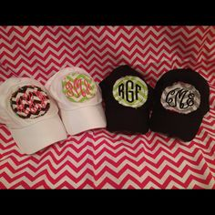 Baseball hats! $18 choose your hat color (black or white), chevron fabric color (hot pink, Carolina blue, red, grey, purple, turquoise, lime green, or brown), font (script, circle, or diamond), and your thread color (light blue, carolina blue, hot pink, light pink, kelly green, lime green, yellow, orange, light grey, mint, coral, purple, or light brown.) email us (glammonogram@gmail.com) or text us (919-448-6737) to place order Pink Light, Light Colors, East Coast Prep, Monogrammed Ideas, Mint Coral, Monogram Hats, Chevron Fabric, Summer Loving, Girly Gifts