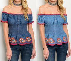 Denim Peasant Top Smocked Waist Off Shoulder Crochet Trim Fashion Design Blouse #Fashion #Blouse #Casual