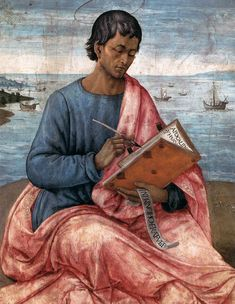 Saint John the Evangelist on the Island of Patmos (detail) / San Juan Evangelista en la isla Patmos (detalle) // ca. // (Circle of) Domenico Ghirlandaio // © Museum of Fine Arts, Budapest // Michelangelo, San Juan Evangelista, Close Up Art, St John The Evangelist, Italian Renaissance Art, Four Gospels, Renaissance Portraits, Fra Angelico, John The Baptist
