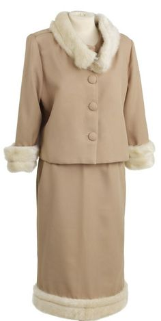 Beige suit with mink collar (with a matching mink hat) that Marilyn wore in the film Something's Got To Give, 1962.