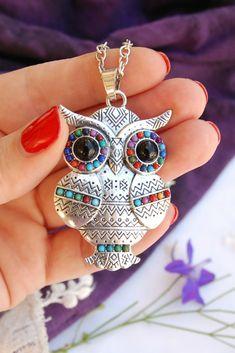 Sterling Silver 3D Medium Forward Facing Owl Bird Dangle Charm Bead For Bead Charm Bracelet