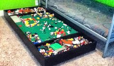 28 Lego Tables with Storage for Huge Lego Fans I have 3 boys. 3 boys who absolutely LOVE Lego's. And a family who loves to buy them for them. (Which is a blessing. Lego Table With Storage, Lego Storage, Storage Ideas, Storage Solutions, Mesa Lego, Diy Couch, Lego Room, Toy Rooms, Kids Rooms