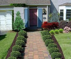 Front Yard Garden Design Stunning front entry with boxwood - Traditional Landscape Design - Front Yard Landscaping Make Over Front Walkway Landscaping, Front Yard Walkway, Landscaping With Rocks, Backyard Landscaping, Landscaping Ideas, Walkway Ideas, Sidewalk Landscaping, Landscaping Software, Sidewalk Ideas