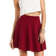 Charlotte Russe Ribbed Skater Skirt ($12) ❤ liked on Polyvore featuring skirts, mini skirts, burgundy, circle skirt, short mini skirts, mini skirt, burgundy mini skirt and red flare skirt