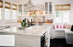 Kitchen ideas maybe not all white but love the window seat.