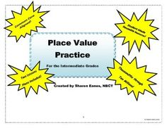 This student-made, interactive place value chart and practice mat provide a visual opportunity for 4th and 5th grade students to read and write numbers from the thousandths place to the ten millions place.  It was developed to extend student ability who have mastered place value of ones, tens, hundreds and thousands using Base Ten manipulatives and place value mats.