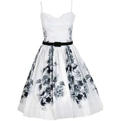 Pre-owned 1950's Silvano of Roma Black White Floral Print Pique-Cotton... ($575) ❤ liked on Polyvore