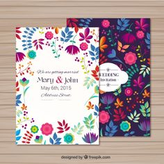 Wedding invitation in floral style Free Vector Mexican Wedding Invitations, Party Invitations, Invites, Invitation Floral, Invitation Cards, Wedding Cards, Our Wedding, Wedding Ideas, Estilo Floral