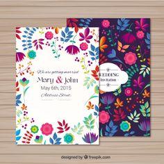 Convite de casamento em estilo floral Vetor grátis