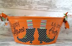 Personalized Halloween Tub--this one isn't exactly me but maybe a Jack-o-lantern face would be a super cute idea!