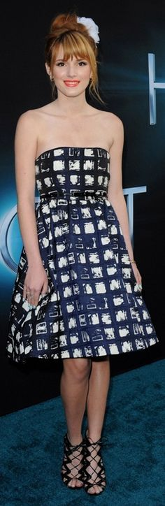 Who made Bella Thorne's print strapless dress that she wore in Hollywood on March 18, 2013?
